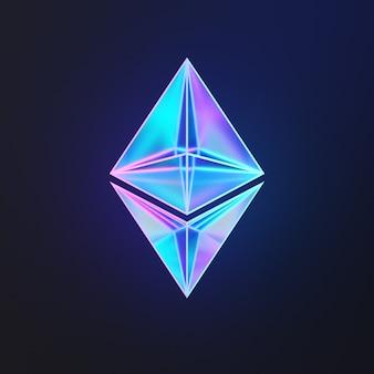 Conceito de fundo abstrato de tecnologia de criptomoeda ethereum. reflexão do logotipo de brilho sobre fundo azul em azul. renderização de ilustração 3d.