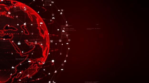 Conceito de fundo de conexões de rede de dados digitais
