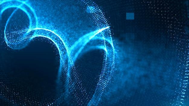 Conceito de fundo de fluxo de partículas digitais de cor azul