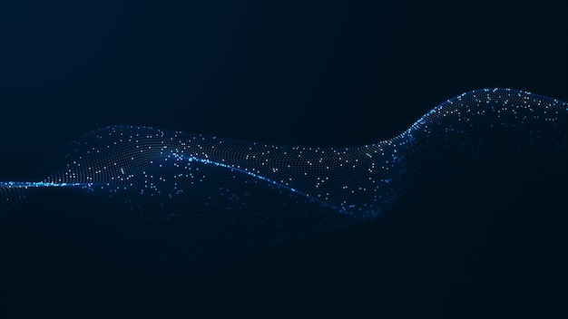 Conceito de fundo de onda digital de tecnologia. belo movimento acenando a textura de pontos com partículas brilhantes desfocadas. fundo de cyber ou tecnologia.