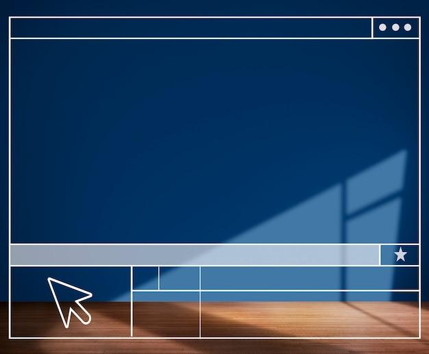 Conceito de fundo de parede de estrutura de pesquisa de sala azul