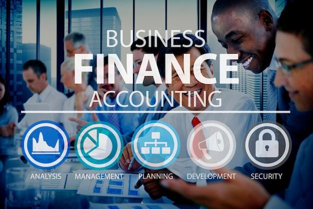 Conceito de gestão de análise financeira de contabilidade de negócios
