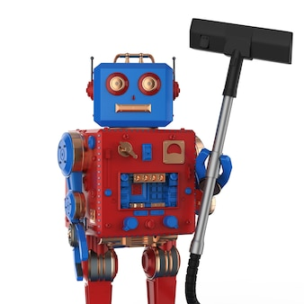 Conceito de governanta automática com renderização em 3d bonito aspirador de pó robótico isolado no branco Foto Premium