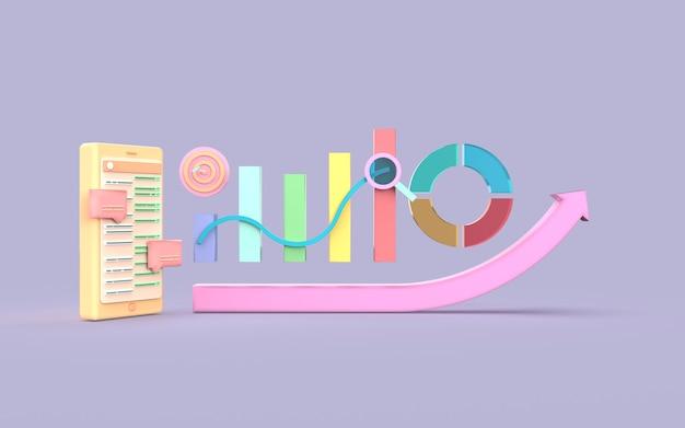 Conceito de gráfico de barras de marketing digital de mídia social handphone renderização em 3d
