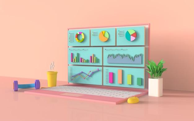 Conceito de gráfico de barras de marketing digital de mídia social, laptop, renderização em 3d