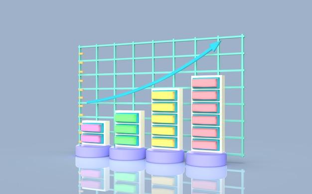 Conceito de gráfico de barras de marketing digital de mídia social, renderização em 3d