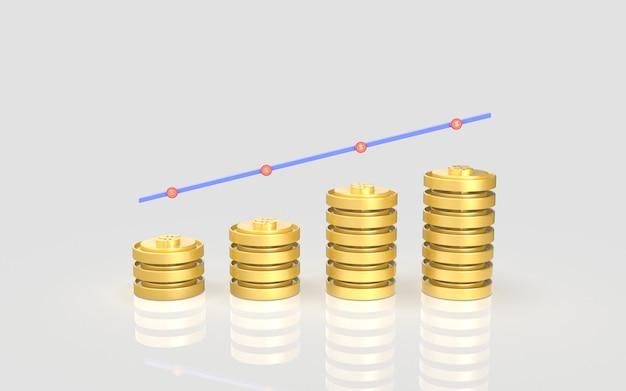 Conceito de gráfico de barras de marketing digital de moedas de mídia social display de renderização em 3d