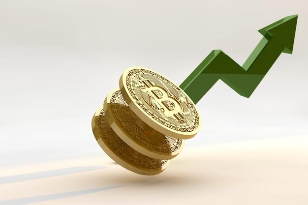 Conceito de gráfico de crescimento ascendente de bitcoin. 3d render criptomoeda para cima
