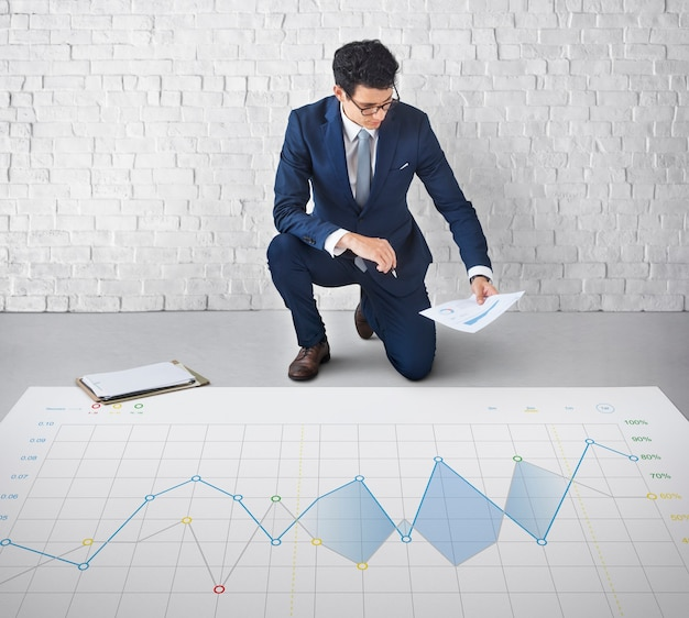 Conceito de gráfico de progresso de análise de relatório