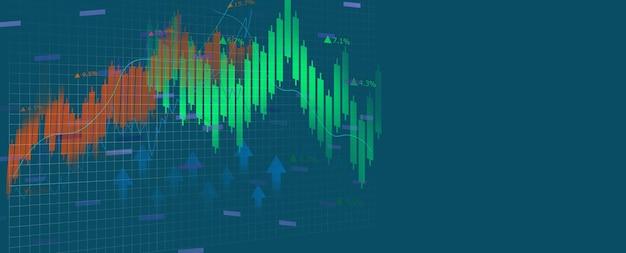 Conceito de gráfico, pesquisa e análise financeira.