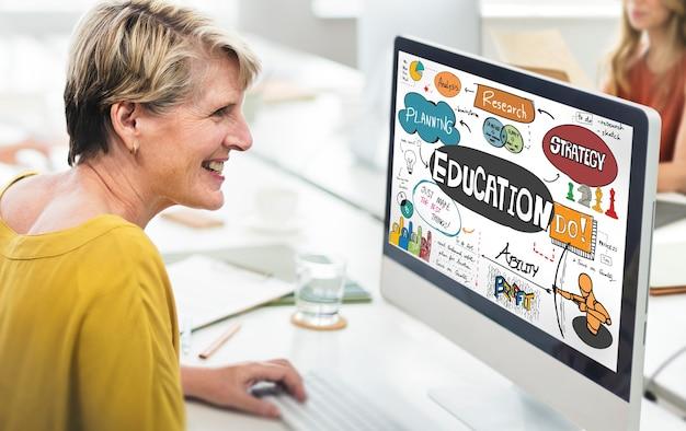 Conceito de gráficos de aprendizagem de estudos escolares de educação