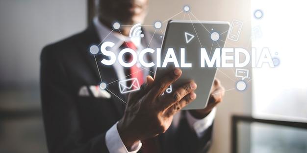 Conceito de gráficos de conexão de mídia social