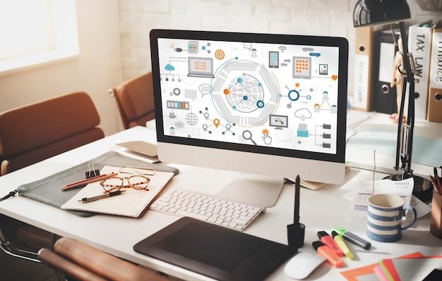 Conceito de gráficos de conexão de tecnologia da informação