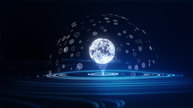 Conceito de grande volume de dados de tecnologia abstrata. gráfico de movimento para data center abstrato, fluxo de dados. transferência de big data e armazenamento de block chain, servidor, internet de alta velocidade. renderização 3d.