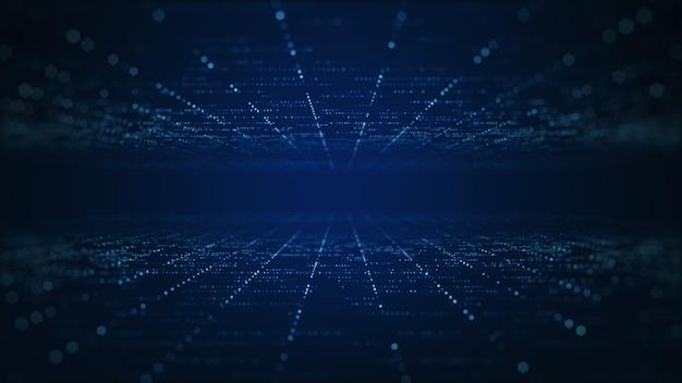 Conceito de grande volume de dados de tecnologia abstrata. gráfico de movimento para data center abstrato, fluxo de dados. transferência de big data e armazenamento de blockchain, servidor, internet de alta velocidade. renderização 3d.