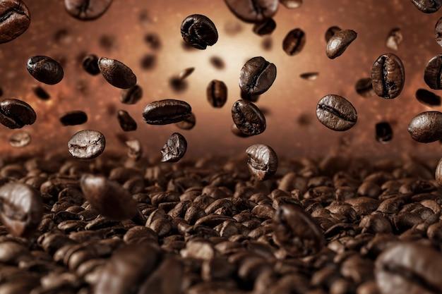 Conceito de grãos de café caindo, close-up de grãos de café torrados frescos voando sobre fundo escuro