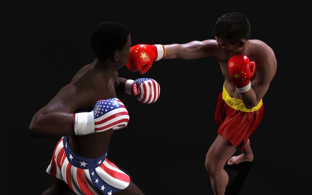 Conceito de guerra comercial entre eua e china. pugilista da ilustração 3d dois que luta perfuradores de troca da bandeira dos eu e da china para o conceito: guerra comercial.