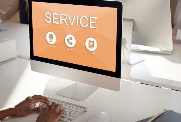 Conceito de guia de soluções de suporte a serviços