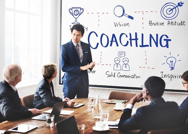 Conceito de guia educacional de desenvolvimento de coaching coach
