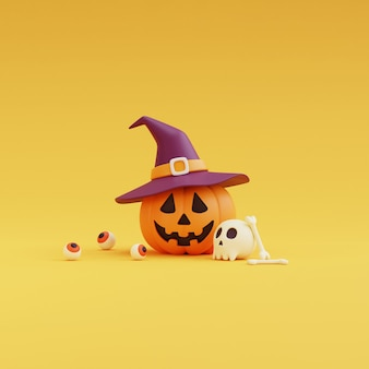 Conceito de halloween feliz, personagem de abóboras usando chapéu de bruxa, crânio, osso, olhos balls.on amarelo background.3d render.