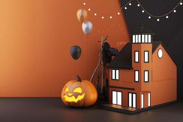 Conceito de halloween na casa com as luzes acesas com cabeças brilhantes de abóbora, vassouras de bruxa, rodeadas por balão e velas em um fundo preto escuro. 3d render