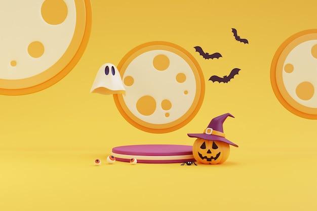 Conceito de halloween, pódio para exposição de produto com personagem de abóboras usando chapéu de bruxa, fantasma sob a renderização de background.3d amarelo luar.