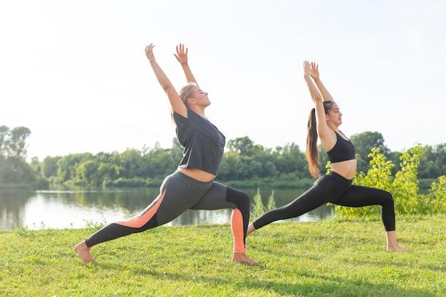 Conceito de harmonia e estilo de vida saudável - jovens mulheres magras em roupas esportivas, praticando ioga ao ar livre.