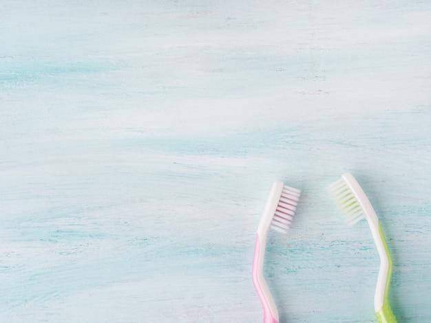 Conceito de higiene dental. escovas de dentes, flores, hortelã