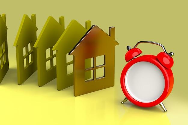 Conceito de hipoteca, lembrete, realização e prazo. renderização 3d