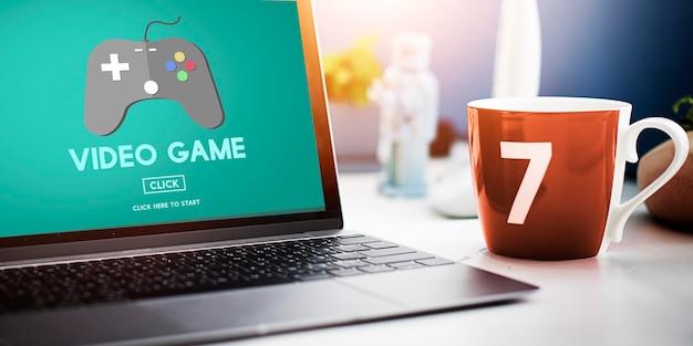 Conceito de hobbies de joystick de videogame
