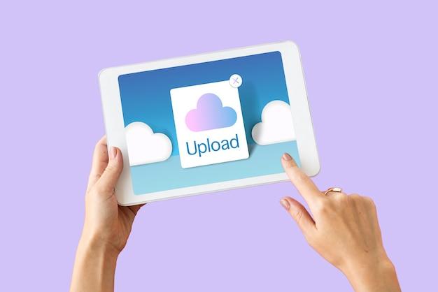 Conceito de ícone de armazenamento de computação em nuvem