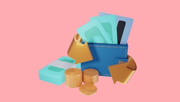 Conceito de ícone de economia de dinheiro. carteira, nota, pilha de moedas e cartão de crédito. ilustração 3d.