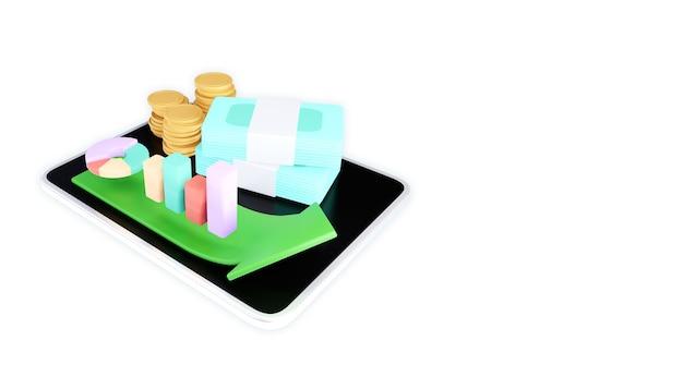 Conceito de ícone de reembolso e reembolso de dinheiro. ilustração 3d