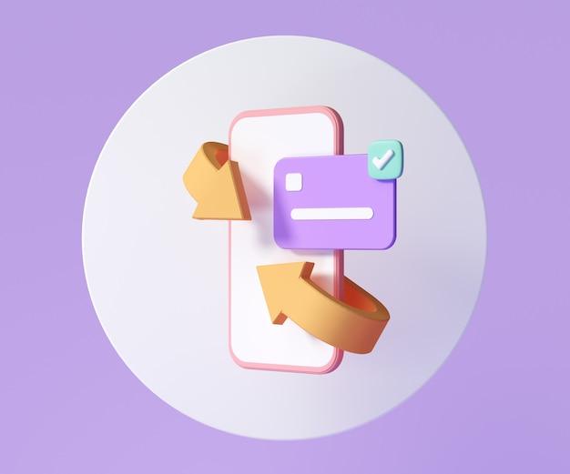 Conceito de ícone de reembolso móvel e reembolso de dinheiro