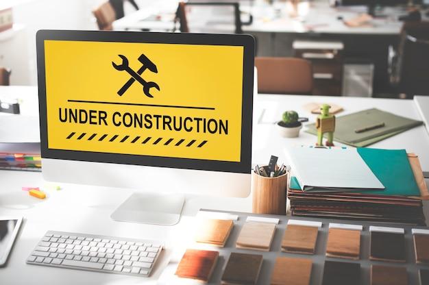 Conceito de ícone de sinal de aviso em construção