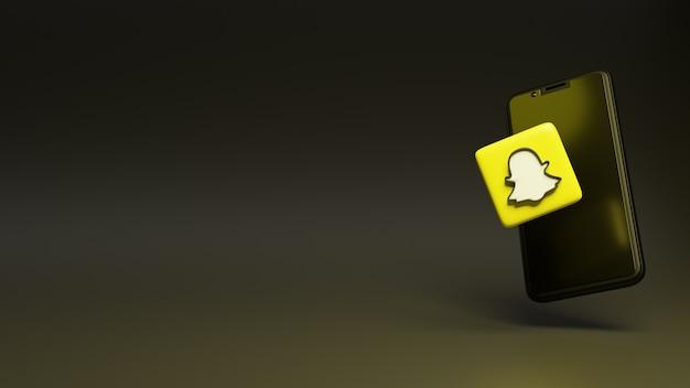 Conceito de ícone do snapchat com o conceito de renderização 3d do smartphone