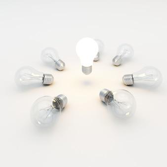 Conceito de ideia com lâmpadas
