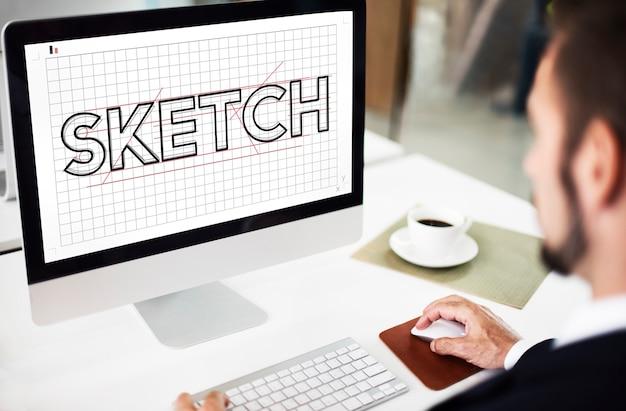 Conceito de ideia criativa de sketch design designer