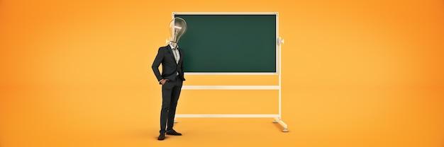 Conceito de ideia de cabeça de lâmpada de empresário renderização em 3d
