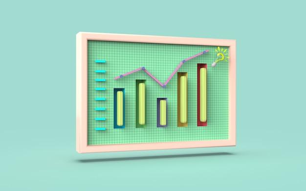 Conceito de ideia de gráfico de barras de marketing digital de mídia social renderização em 3d