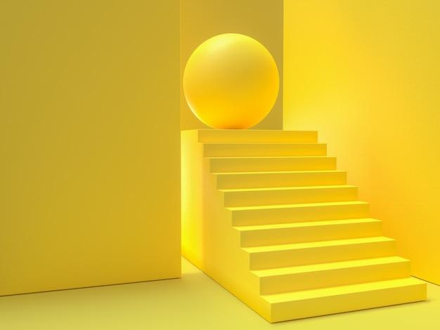 Conceito de idéia mínima. o fundo amarelo das escadas, 3d rende.