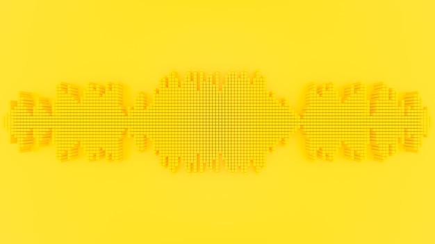 Conceito de ideia mínima. onda sonora cor amarela. renderização 3d.