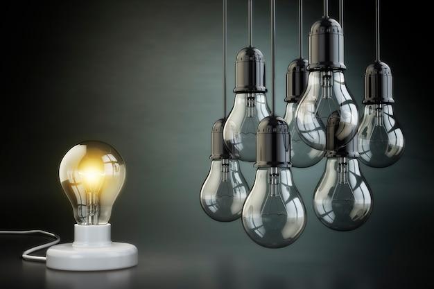Conceito de ideia ou liderança. grupo de lâmpadas no fundo preto. 3d