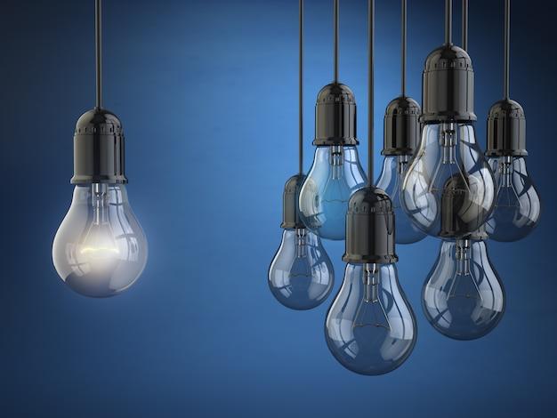 Conceito de ideia ou liderança. grupo de lâmpadas sobre o fundo azul. 3d