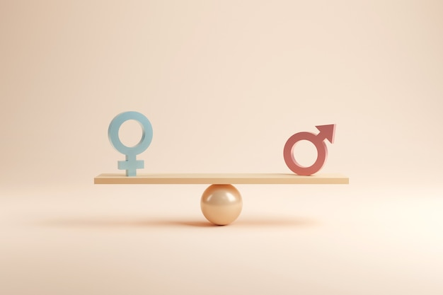Conceito de igualdade de gênero. símbolo masculino e feminino na balança com equilíbrio.