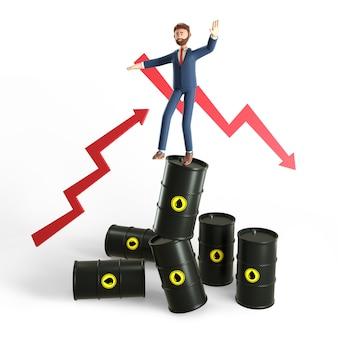 Conceito de ilustração 3d de excesso e instabilidade no mercado mundial de petróleo.