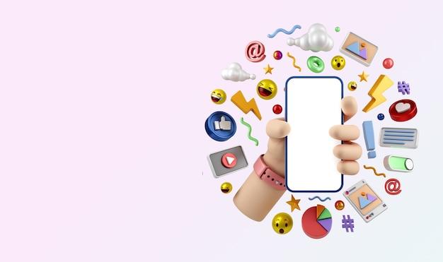 Conceito de ilustração de marketing digital de mídia social instagram renderização em 3d