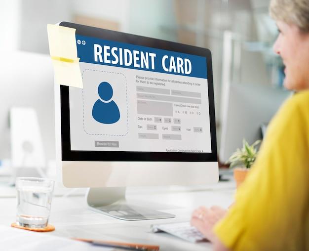 Conceito de imigração de informações de dados de identificação de cartão de residente