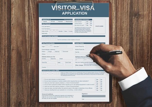 Conceito de imigração do aplicativo de visto de visitante