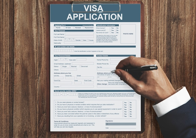 Conceito de imigração do formulário de solicitação de visto